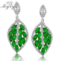169801fb0441 Green Leaf Earrings Drop Crystal Fashion Ethnic Style National Jewelry For  Women CE92