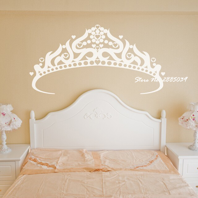 Large Princess Crown Wall Stickers Vinyl Pretty Wall Decals Home ...