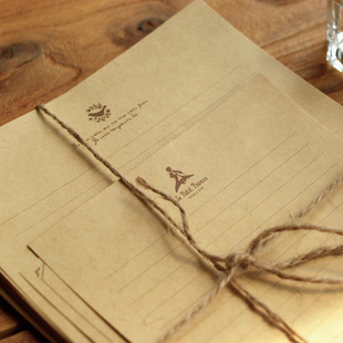 Letter Pad / Paper 10pcs/pack Retro Kraft Stationery Set Love Letter 21* 15cm Paper Notes Size 15*12cm Free Shipping