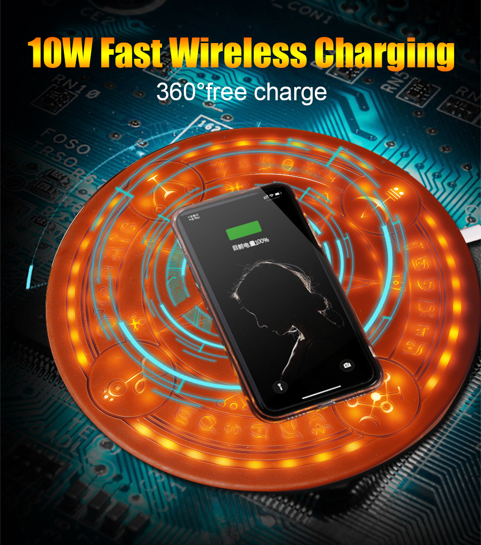 10W Magic Array Wireless Charger Universal Circle Qi Wireless Fast Charger Charging Pad For iPhone X XS Max XR Samsung with Box (4)