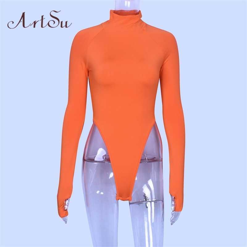 ArtSu Neon Grün Orange Rollkragen Body Frauen Herbst Langarm Overall Neue Bodycon Body Schlank Strampler Mujer ASJU60131