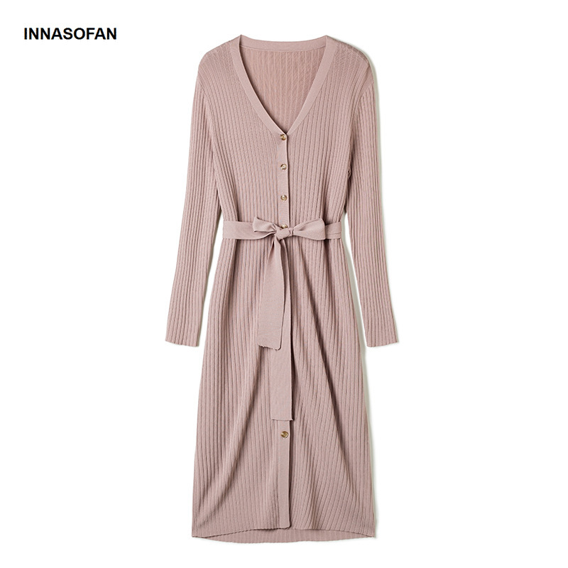 INNASOFAN dress female Spring-summer knitted dress Euro-American fashion elegant dress with belt and V-neck in long sleeves