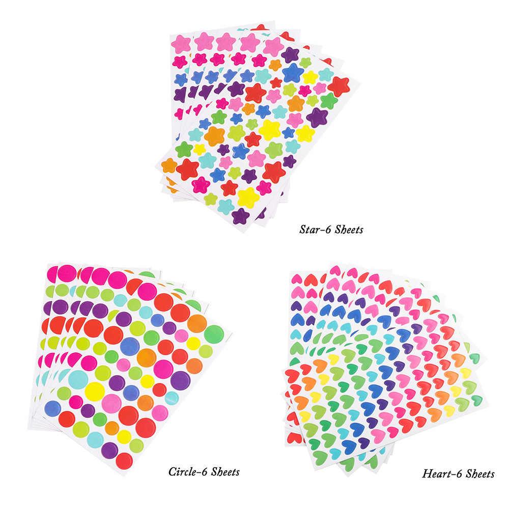 6 листы наклейки дневник красочные радужные сердца StarShaped стикер s альбом для вырезок игрушки для фото для детей