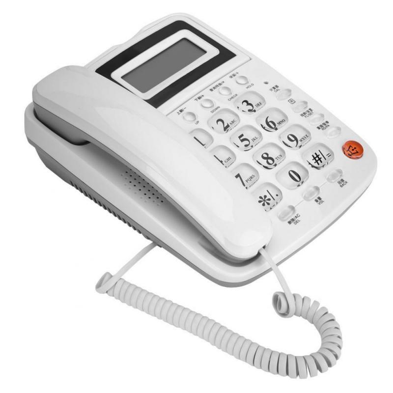 White Home Office Telephone Battery-free Desktop Landline Caller ID Display Fixed Phone