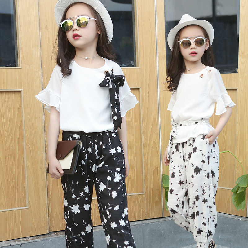 Summer2017 Children's Fashion Girl Clothing Set 2White Lace Shirt and Black Flower Pants for Teenage Girl's Clothing Set 3-12T 7 new sexy vs045 1 6 black and white striped sweather stockings shoes clothing set for 12 female bodys dolls