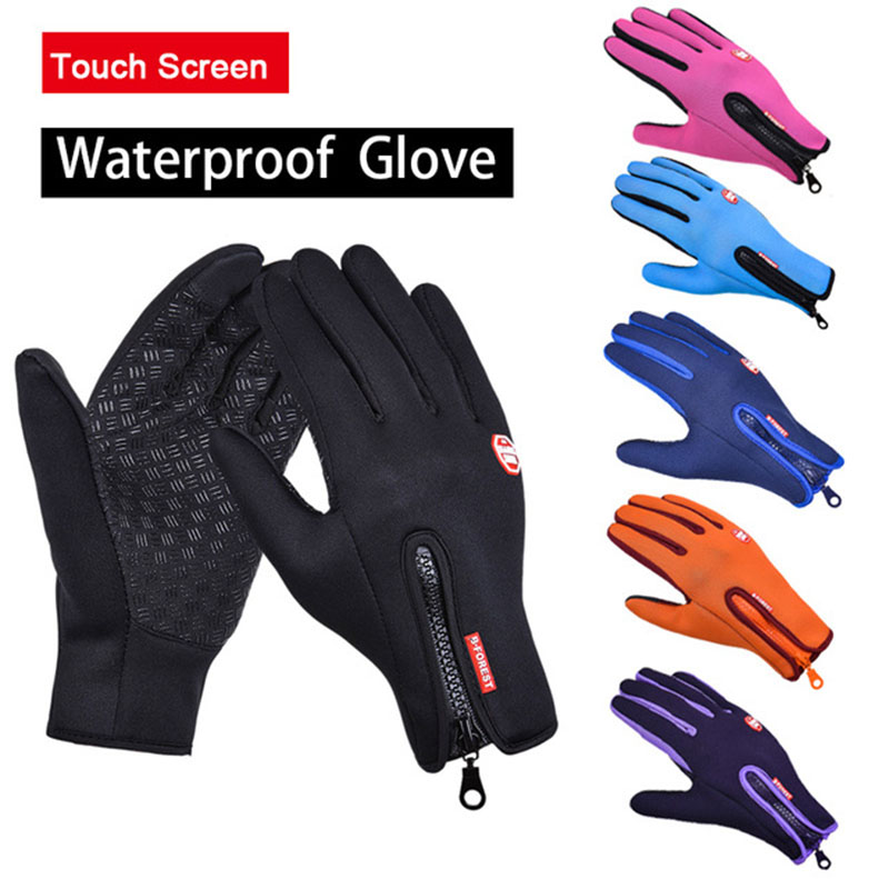 Windstopers Handschuhe Anti Slip Winddicht Thermische <font><b>Warme</b></font> Touchscreen Handschuh Atmungsaktive Tactico <font><b>Winter</b></font> Männer Frauen Black Zipper Handschuhe image