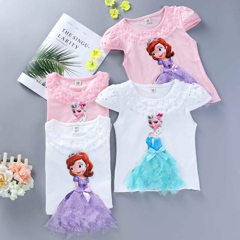 Girls New Summer Princess T-Shirt Elsa Childen Cotton Tees Lace T Shirt 3D Diamond Appliques Kids Birthday Party Top Clothing 3
