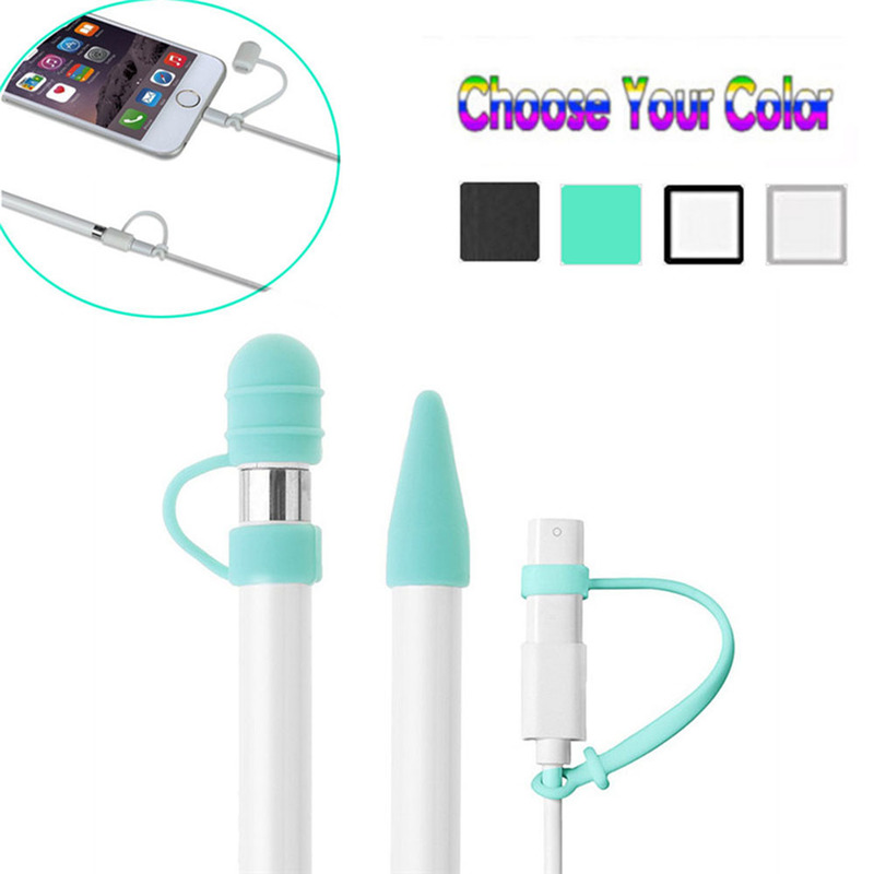 1pc Cover Cable Adapter Tether Kit For IPad Pro 10.5 12.9 9.7Pencil Case Silicone Top For Apple Pencil Cap Holder Nib Tip