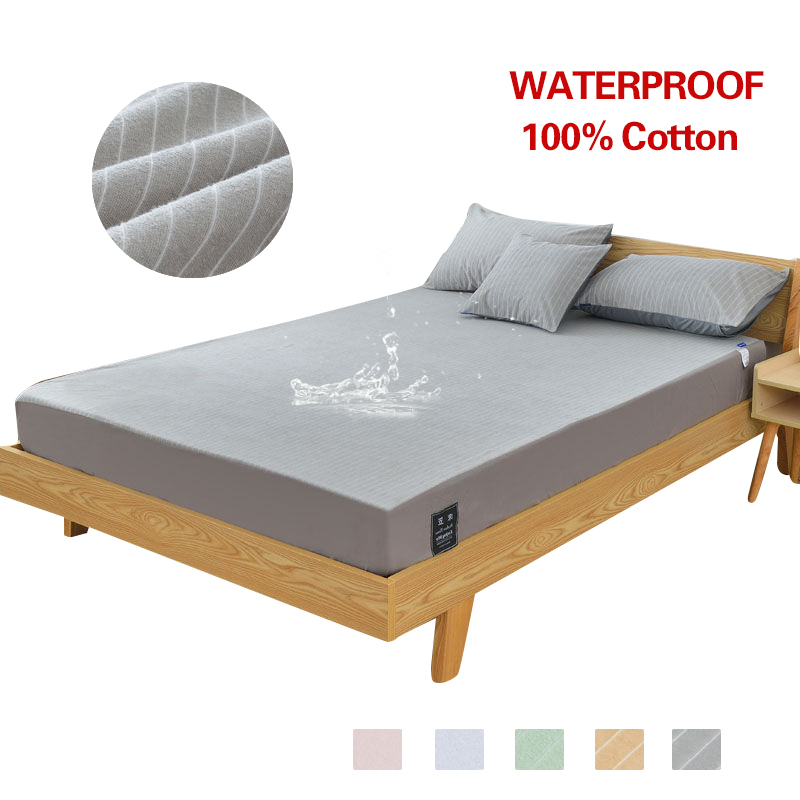 100% Cotton Waterproof Breathable Mattress Protecotor Pad Striped 5 Colors Fitted Sheet Cover for Bedroom Washable100% Cotton Waterproof Breathable Mattress Protecotor Pad Striped 5 Colors Fitted Sheet Cover for Bedroom Washable