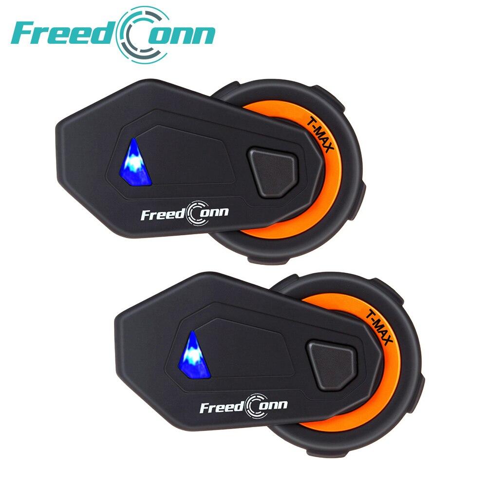 2 pcs T-MAX 6 pilotos do capacete da motocicleta interfone 1000 m grupo intercom BT interphone Do Bluetooth 4.1 Rádio FM fone de ouvido sem fio