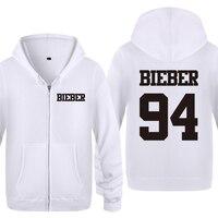 Justin Bieber 94 Rock Hip Hop Music Sweatshirts Men 2018 Mens Zipper Hooded Fleece Hoodies Cardigans