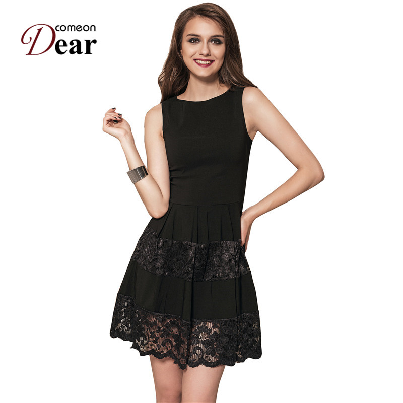 Comeondear RA80049 Women Casual Dress Black Sleeveless Skater Dress Plus Size Sexy Lace Party Dress A Line Dress Women Summer