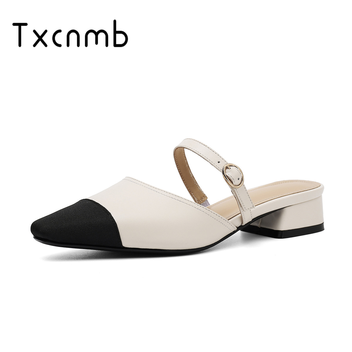 TXCNMB 2019 Summer New Fashion Concise Women Sandals Genuine leather Shallow High Heels Shoes Woman Casual