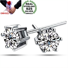OMHXZJ wholesale Fashion jewelry Six claw AAA zircon 925 Sterling Silver Stud Earrings YS31