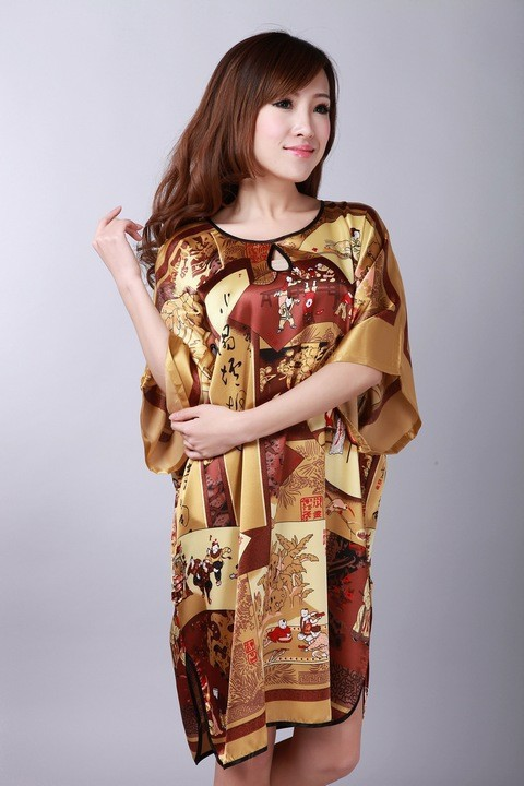 487788754a01 High Fashion Coffee Ladies  Polyester Nightdress Vintage Yukata Gown Sexy  Soft Home Wear Charming Sleepwear One Size NS0062