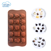 Cute and Lovely cake mold 15 Holes Silicone chocolate Mold Animals Pattern for the Kitchen Baking Decorations
