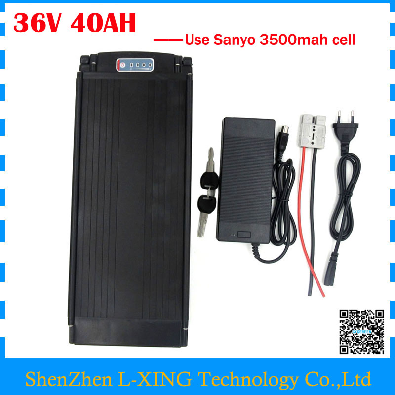 electric bike battery 36v 40ah li-ion battery 36V 40AH rear rack battery with tail light use Sanyo 3500mah cell 30A BMS free customs taxes super power 1000w 48v li ion battery pack with 30a bms 48v 15ah lithium battery pack for panasonic cell