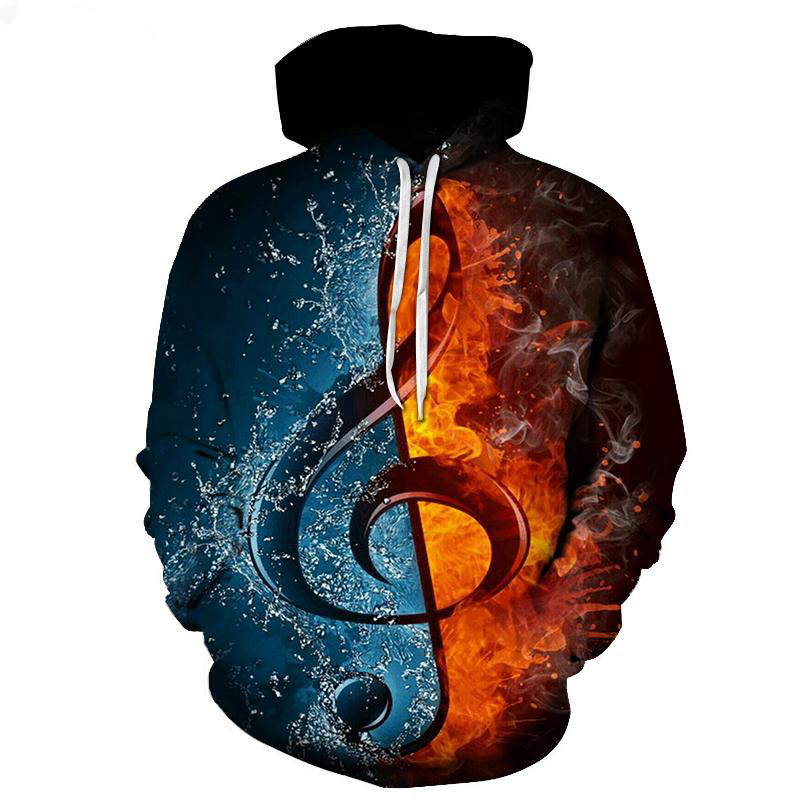 New Fashion Cool Sweatshirt Hoodies Men Women 3D Print Water And Fire Note Music Loose Hot Style Streetwear Sleeve Clothes