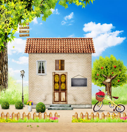 Bricks House Garden Trees Scenic Photography Background For Baby