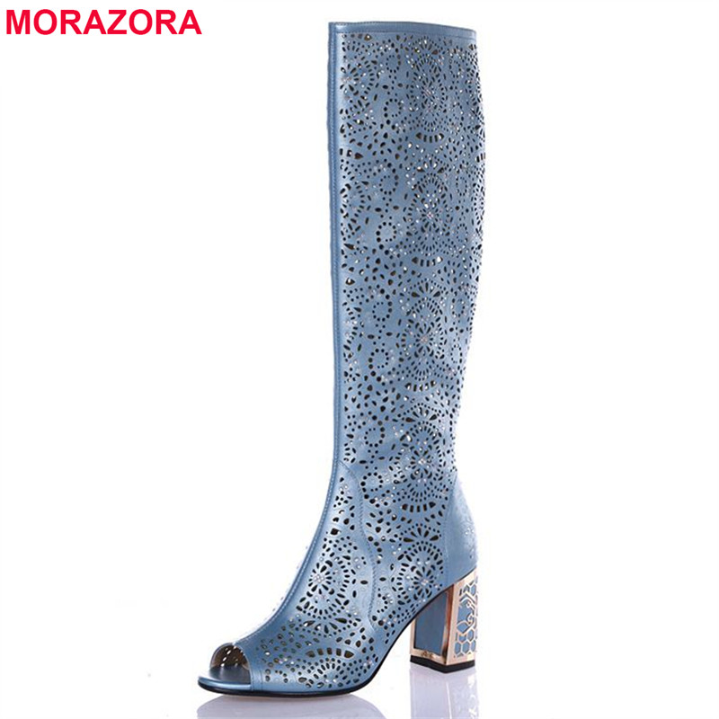 MORAZORA 2018 New high quality cut outs women sandals open toe high heels solid cokor summer boots gladiator shoes stretch fabric gladiator sandals boots women cut outs high heels shoes knee high boots summer open toe boots sandalias femininas