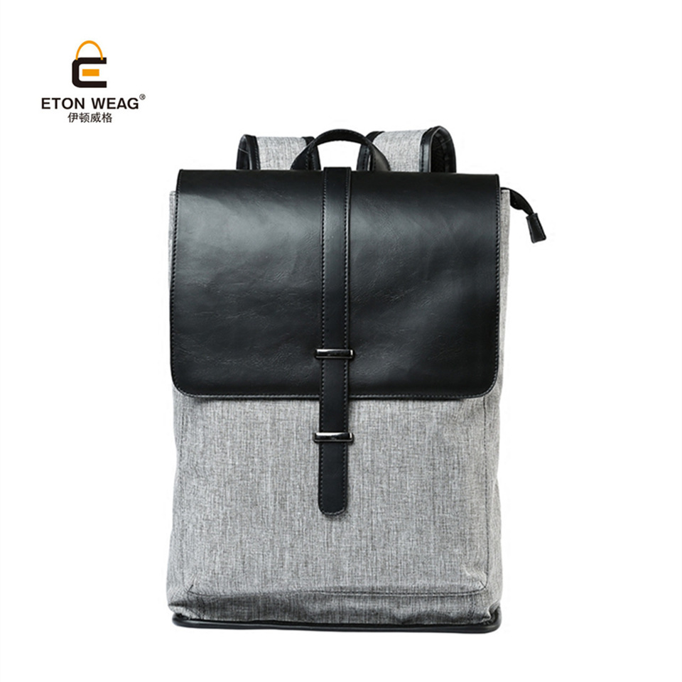 ETONWEAG Vintage Schoolbag High Quality Microfiber Leather and Canvas Backpack for Men Teenagers Preppy Style Bags Travel Bags