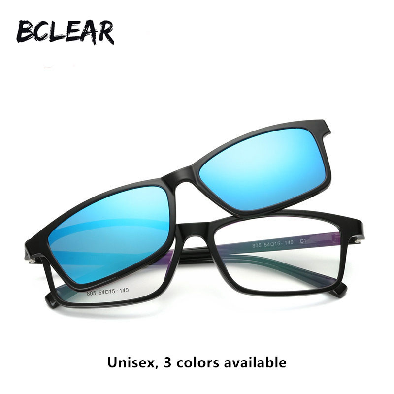 83cb30d8a2 BCLEAR Vintage unisex myopia optical frame with polarized sun lens men  women magnet adsorption fashion clip on sunglasses new