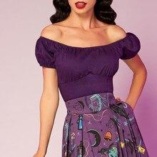 30-лето Женщины старинные 50 s pinup Peasant Top в фиолетовый Большие размеры Футболка camiseta mujer Готический Топы