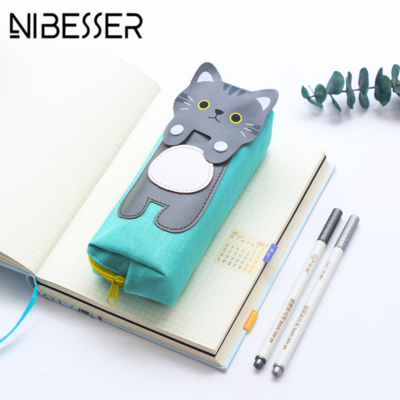 NIBESSER Cute Portable Travel Bag Zipper Cat Pencil Box Pen Pouch Cosmetic Bags Travel Accessories Sweet Travel Toiletry Bags