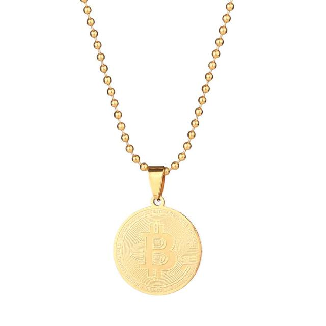 Art Collection Gold Plated Bitcoin Coin CollectibleEuropean And American Stainless Steel Bit Commemorative Coin Pendant Necklace