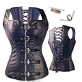 2016 New Vintage Free Shipping Good quality Sexy Black Buckle Faux Leather Corset And Bustiers Steampunk Overbust Corset Top