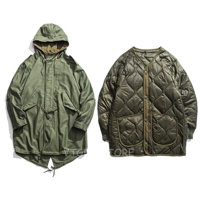 Vintage M1951 Fishtail Parka Winter Men s Trench Coat With Liner Detachable  M51 Military Outwear 51c062cbe35