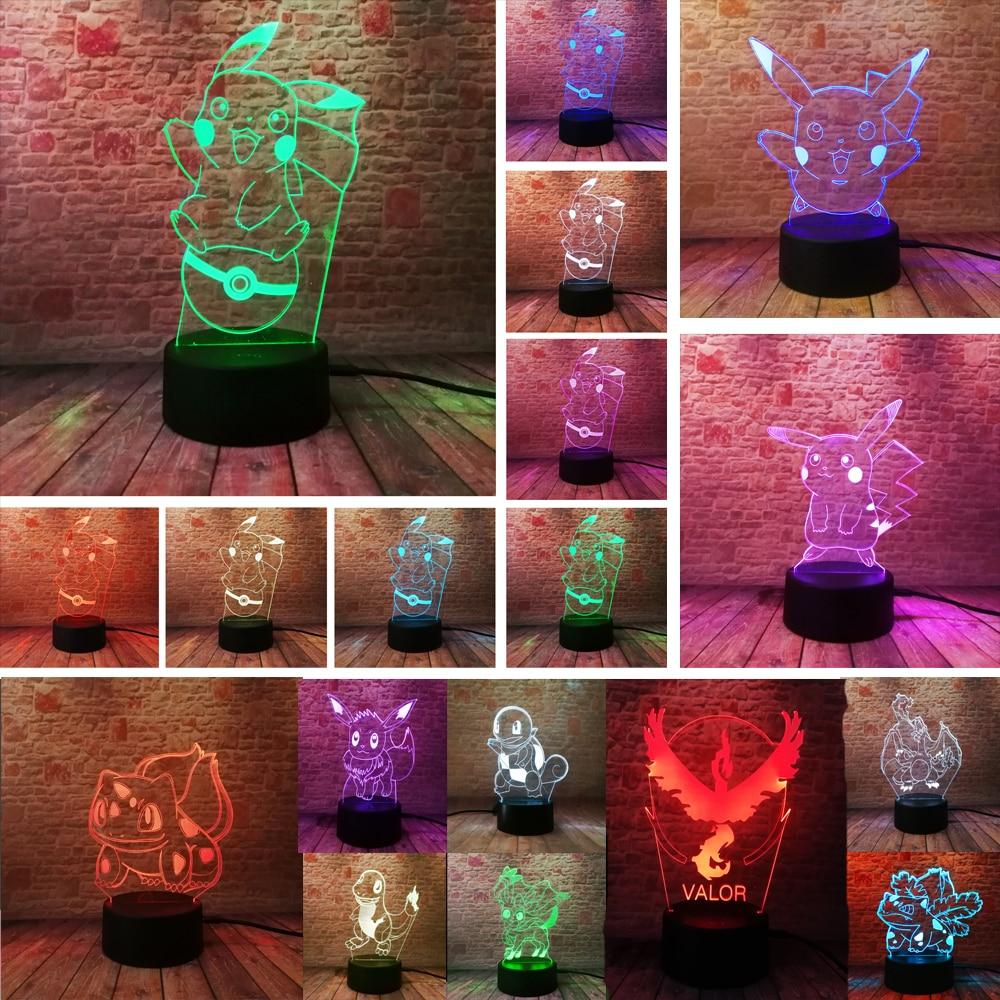 Pikachu Pokeball Bulbasaur Bay Rolle 3D RGB Lampe Pokemon Gehen Action Figure visuelle illusion LED Urlaub Weihnachten Geschenke Nacht Licht