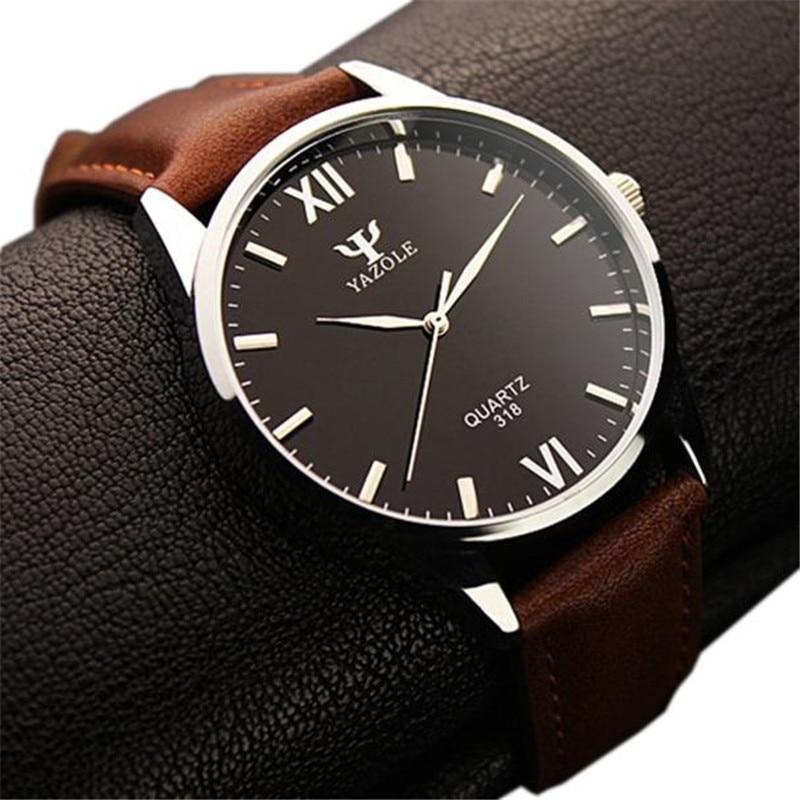 YAZOLE Hot relogio masculino Clock Luxury Fashion Leather Mens Glass Quartz Analog Wristwatch Watches M0630