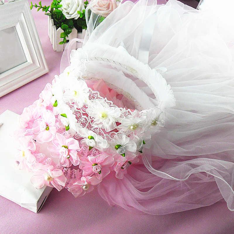 Горячие Романтический белый розовый Дети ободки Anadem девушка длинные вуаль цветок гирлянды свадебные Hairband Головные уборы аксессуары