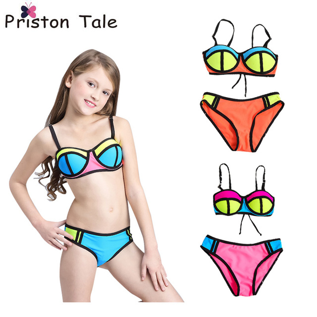 cb5dc17551 2017 New Children Swimwear Baby Kids Cute Bikinis Set Girls Swimsuit  Bathing Suit Beachwear Neoprene Bikini Maillot De Bain 381