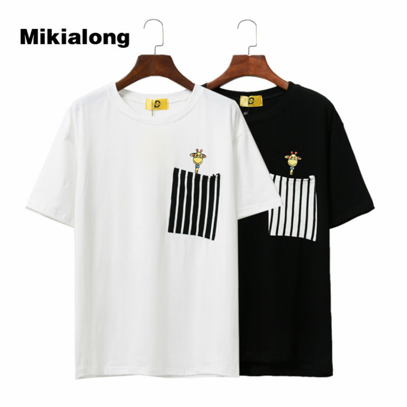 11dc6558022 Mikialong Couple Clothes Kawaii Pocket Giraffe Printed Harajuku T Shirt  Women 2017 Loose Short Sleeve Summer Tee Shirt Femme-in T-Shirts from  Women s ...