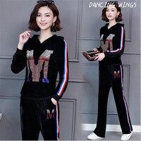 Hot drilling Gold velvet women 2pcs casual sports set autumn fashion sweatershirt pants suit
