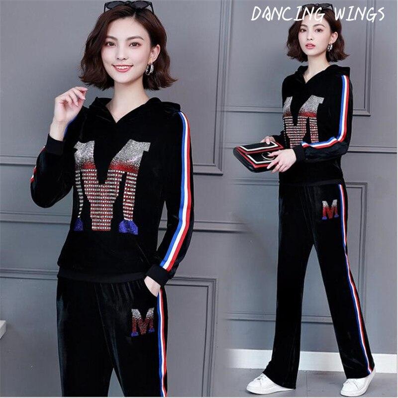 Chaud forage Or velours femmes 2 pièces ensemble occasionnel de sport automne de mode sweatershirt pantalon costume