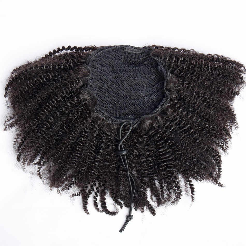 Mogolian Afro rizado cordón Cola de Caballo 4B 4C Remy cabello humano Clip en extensiones de cabello 1 pieza Alibele pelo Puff Cola de Caballo cabello