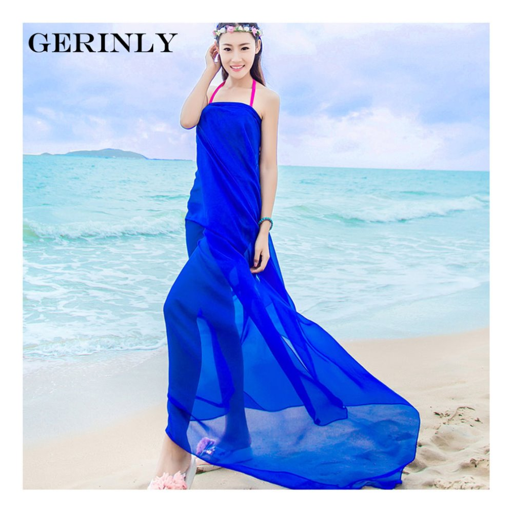 c0198096276c2 Beach Pareo Scarves Women Solid Color Chiffon Sarong Wrap Shawls Swimsuit  Cover Ups Fashion Brand Bikini Dress Plus Size Hijabs -in Women's Scarves  from ...