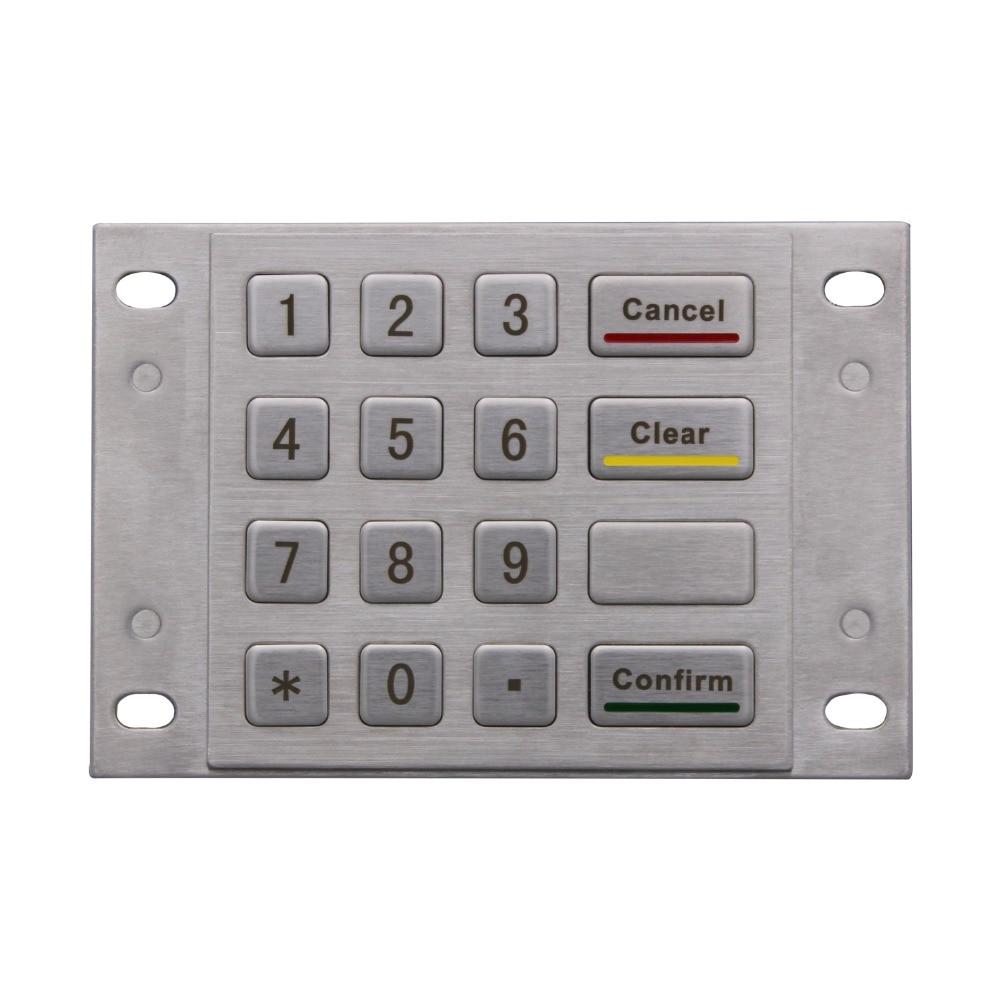 OEM קיוסק 16 מפתחות 4x4 מטריקס נירוסטה תעשייתית USB Wired מותאם אישית מתכת כפתור מקלדת ונדאל הוכחה מוקשח מקלדת