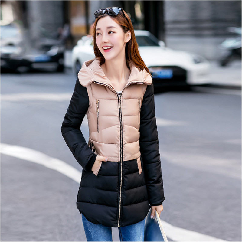 2015 autumn and winter slim medium-long women's wadded jacket cotton-padded jacket plus size with a hood outerwear 2015 new mori girl medium long thickening with a hood color block decoration cotton padded jacket wadded jacket