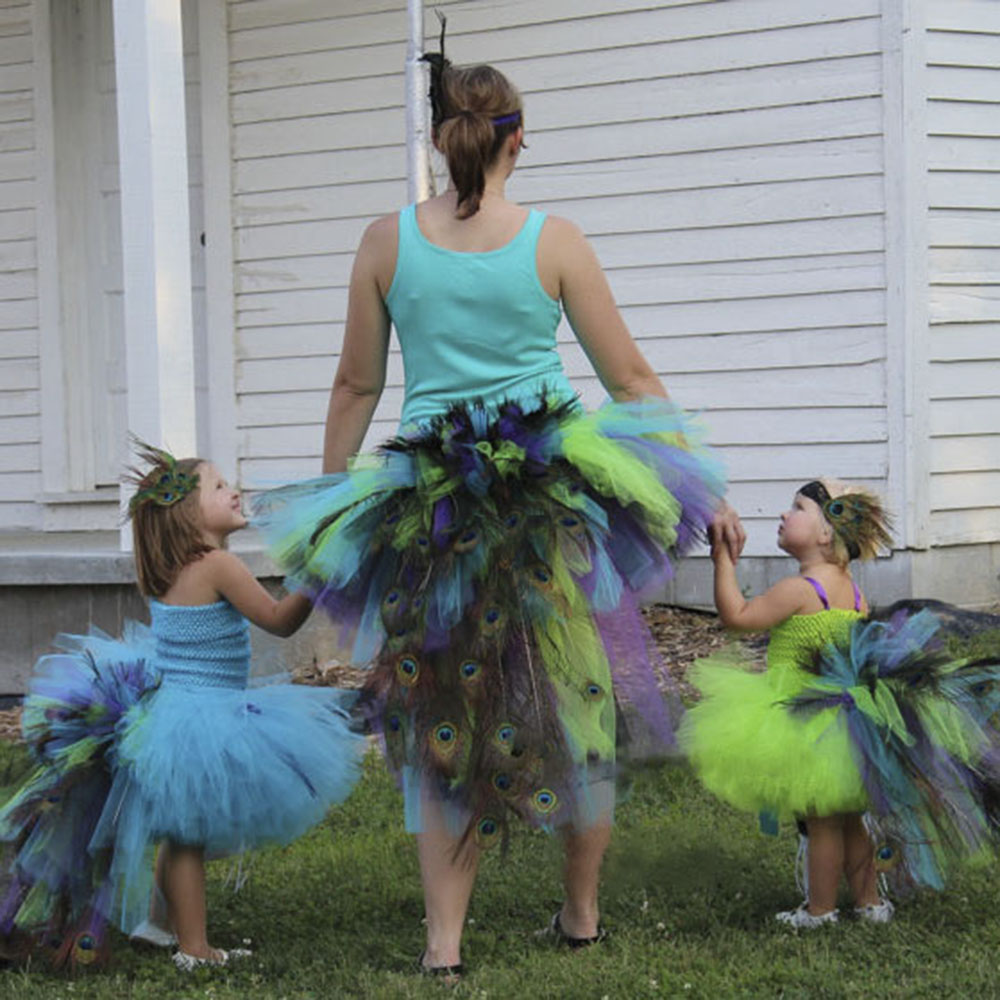 Peacock Flower Girl Tutu Dress Wedding Peacock Girls Feather Tail Halloween Custom For Photo Props beibehang chinese peacock feather flower