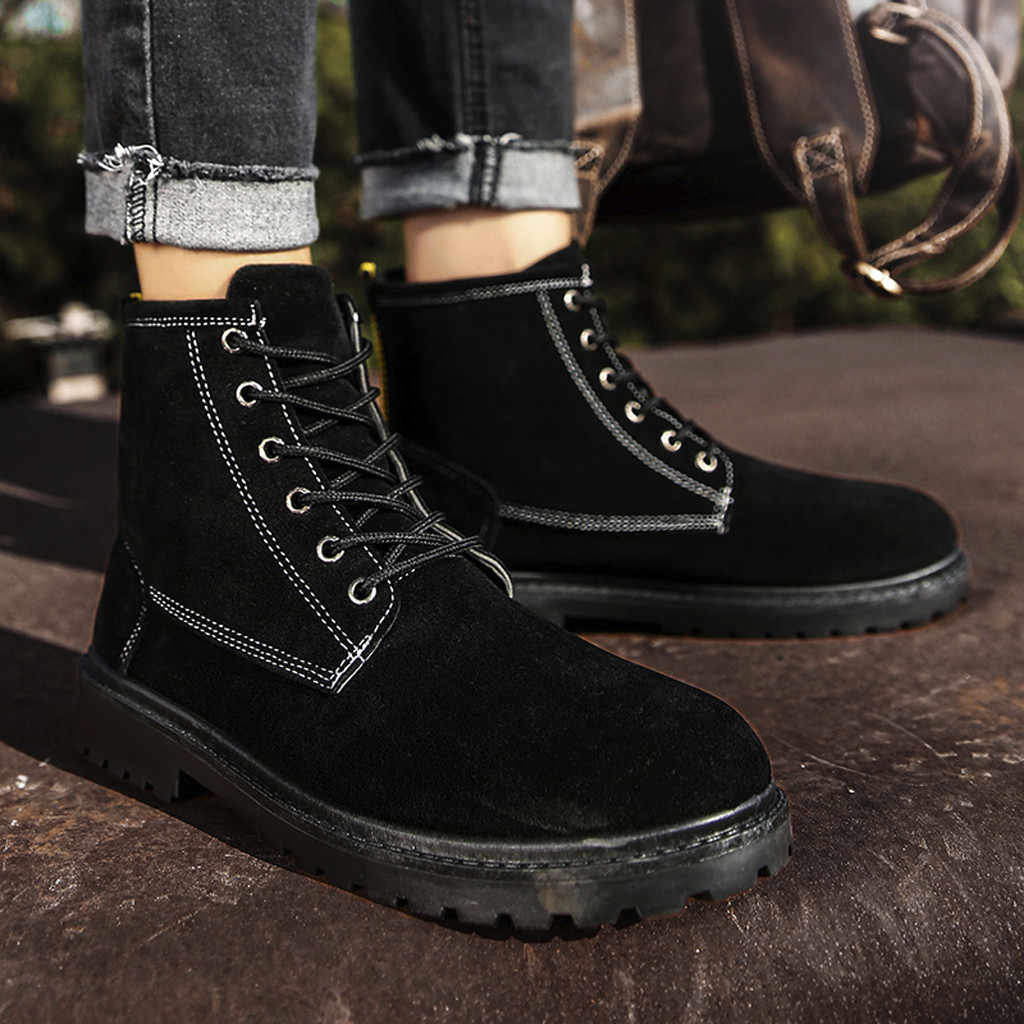 Büyük boy: 39-44 hakiki deri çizmeler erkekler su geçirmez İngiliz tarzı kaymaz kışlık botlar ayak bileği bağcığı kar botları giyilebilir ayakkabı