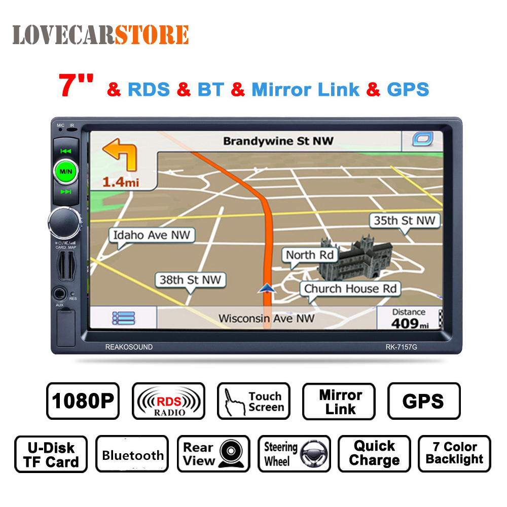 купить 7 Inch 2 Din Bluetooth Auto Multimedia Car Stereo Audio MP5 Player GPS Navigation AM FM RDS Radio Support Mirror Link Aux In по цене 5658.49 рублей