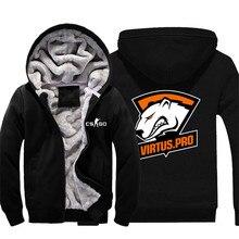 CS GO Virtus Pro Fnatic Printed Thick Fleece Mens Outwear Big Yards Cotton Hoodie Coat Jacket Parkas Warm