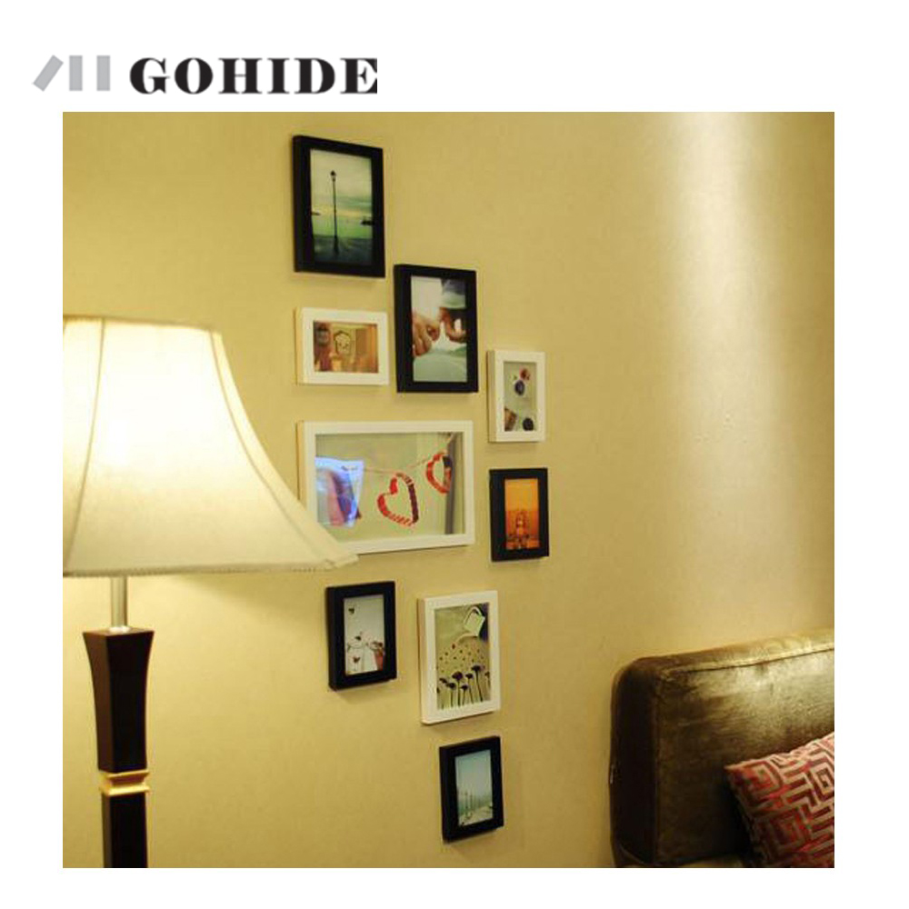 gohide 9pcsset solid wood photos frame set wall photo wall picture frame box small