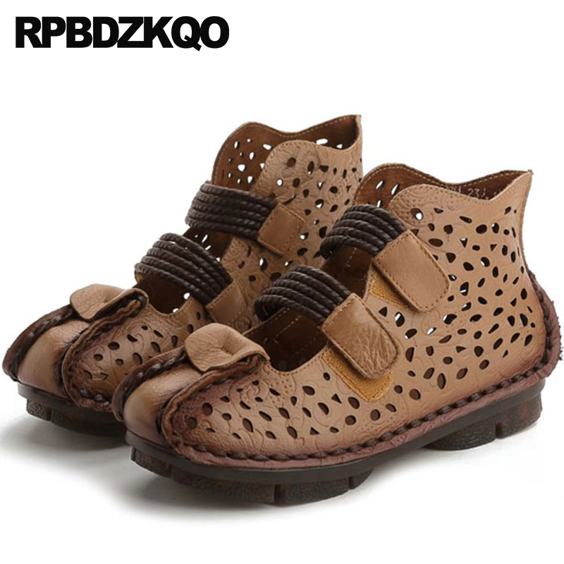 Designer Booties Genuine Leather Closed Toe Boots Ladies Summer Strap Brown Ethnic Sandals Harajuku Women Shoes 2018 Spring Flat
