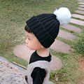 Knitted Baby Beanies 2016 Fashion Faux Fur pom poms Hat For Children Kids Hats Girls Boys Winter Autumn