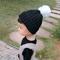 Pompones Sombrero de punto Gorros Bebé 2016 de Piel Sintética de Moda Para Niños Sombreros Niñas niños Otoño Invierno